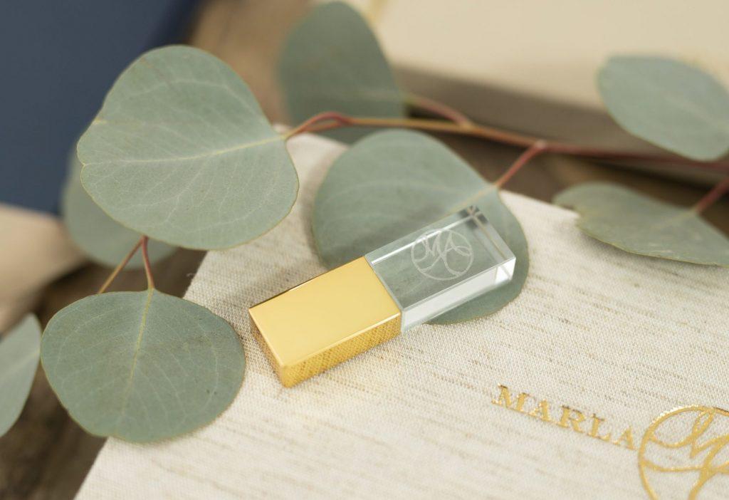 Laser Engraved Gold Crystal Flash Drive
